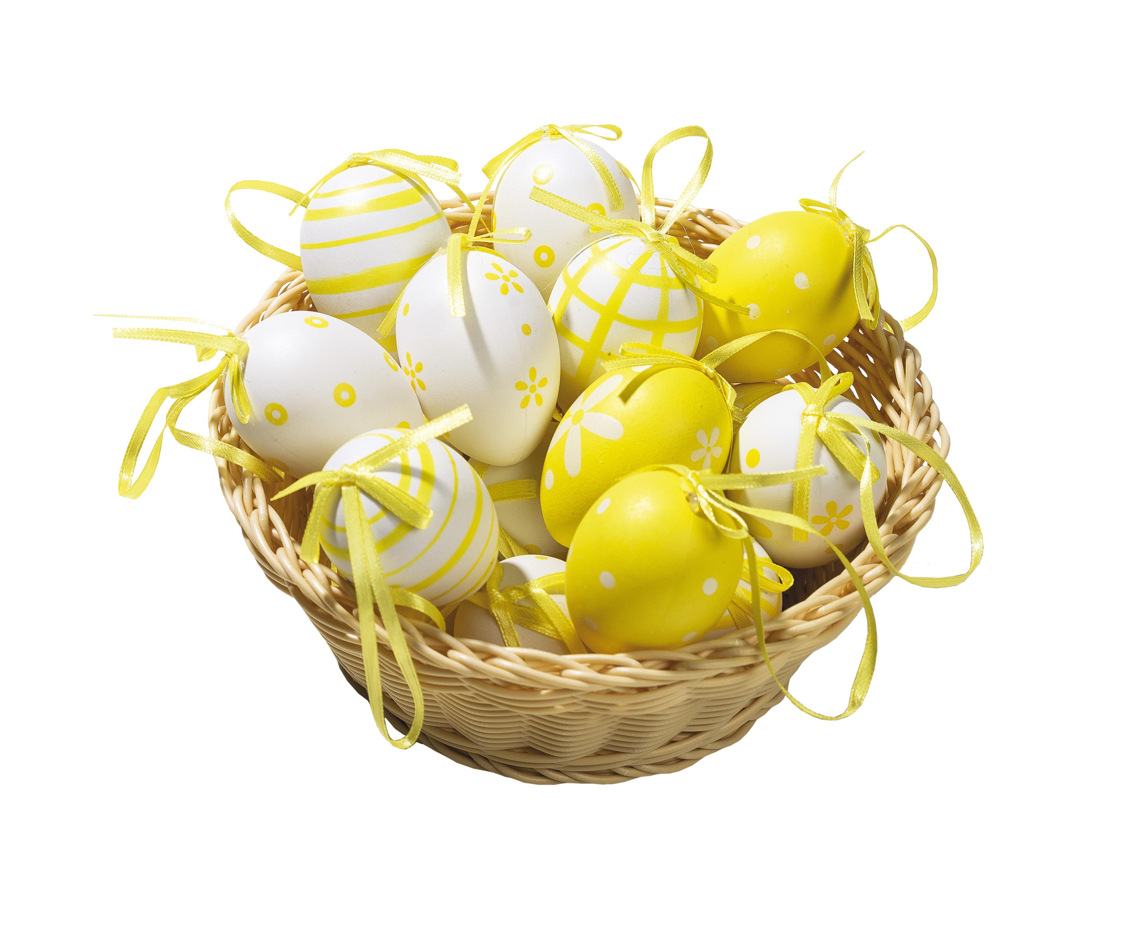 Velikonoční vajíčka, sada 18 ks, žlutá