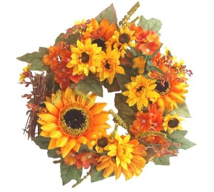 Umělý věnec slunečnic a hortenzií 27 cm