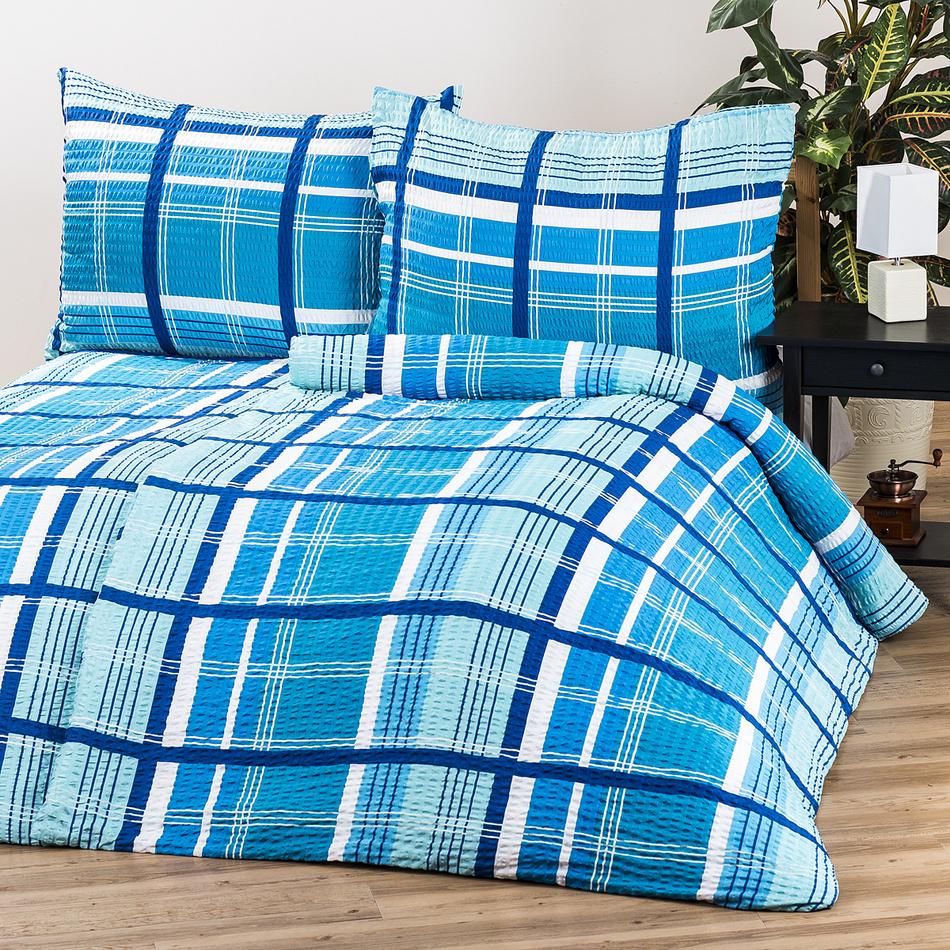 Jahu Krepové povlečení Kostka modrá, 140 x 200 cm, 70 x 90 cm