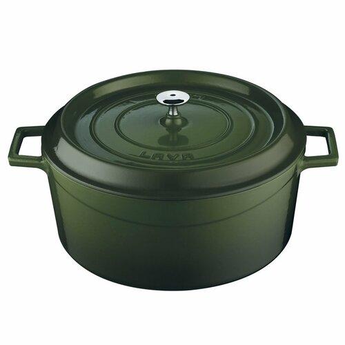 Lava Litinový hrnec kulatý 28 cm, zelená