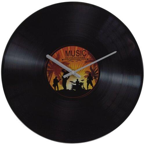 Nástěnné skleněné hodiny Gramofon, žlutá