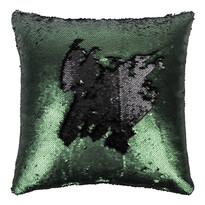 Polštářek s flitry tmavě zelená, 45 x 45 cm