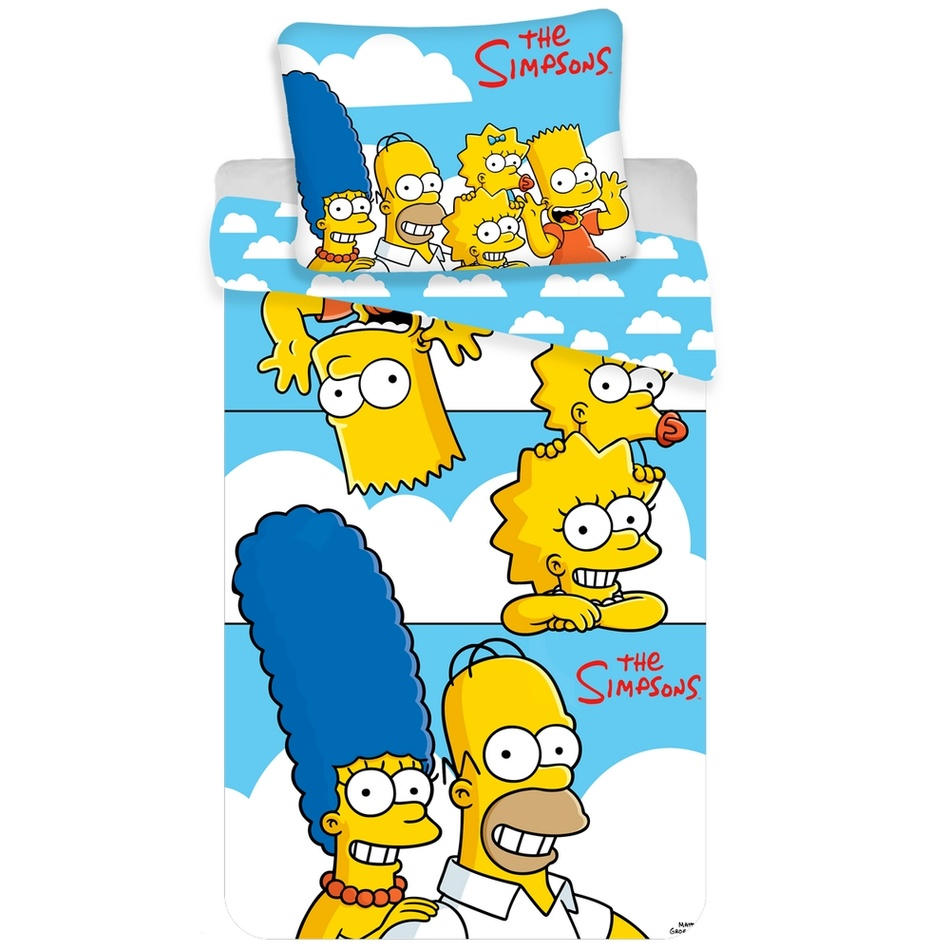 Jerry Fabrics Dětské bavlněné povlečení Simpsons Family clouds, 140 x 200 cm, 70 x 90 cm