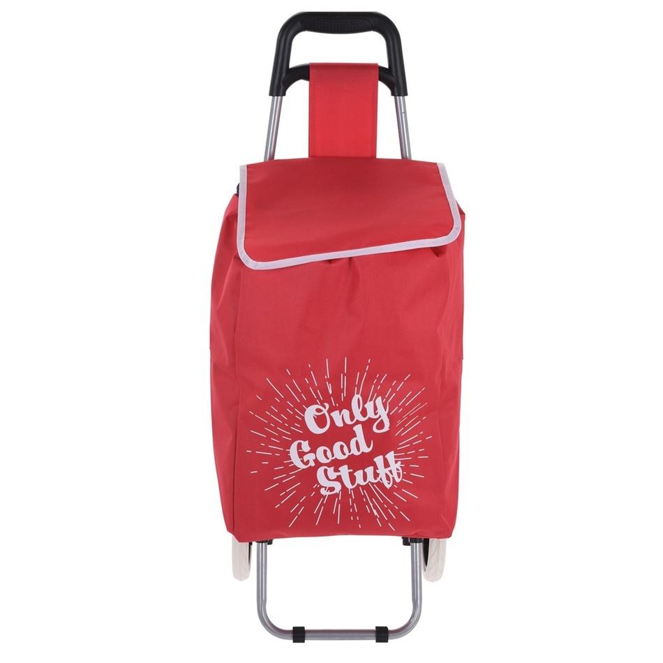 Nákupná taška na kolieskach Only Good Stuff, červená