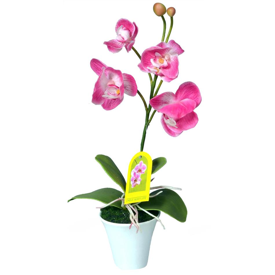 Umělá Orchidej v květináči růžová, 35 cm