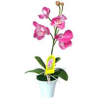 Mű orchidea virágtartóban, rózsaszín, 35 cm