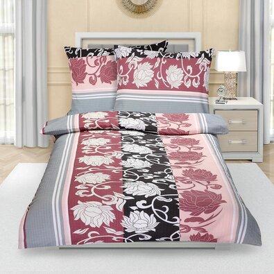 Krepové obliečky Pivonka sivoružová, 140 x 220 cm, 70 x 90 cm