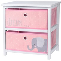 Hatu fiókos komód, rózsaszín, 41 x 33,5 x 43 cm
