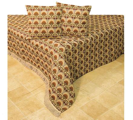 Gobelínový přehoz na postel, béžová + hnědá, 220 x 260 cm, 40 x 40 cm