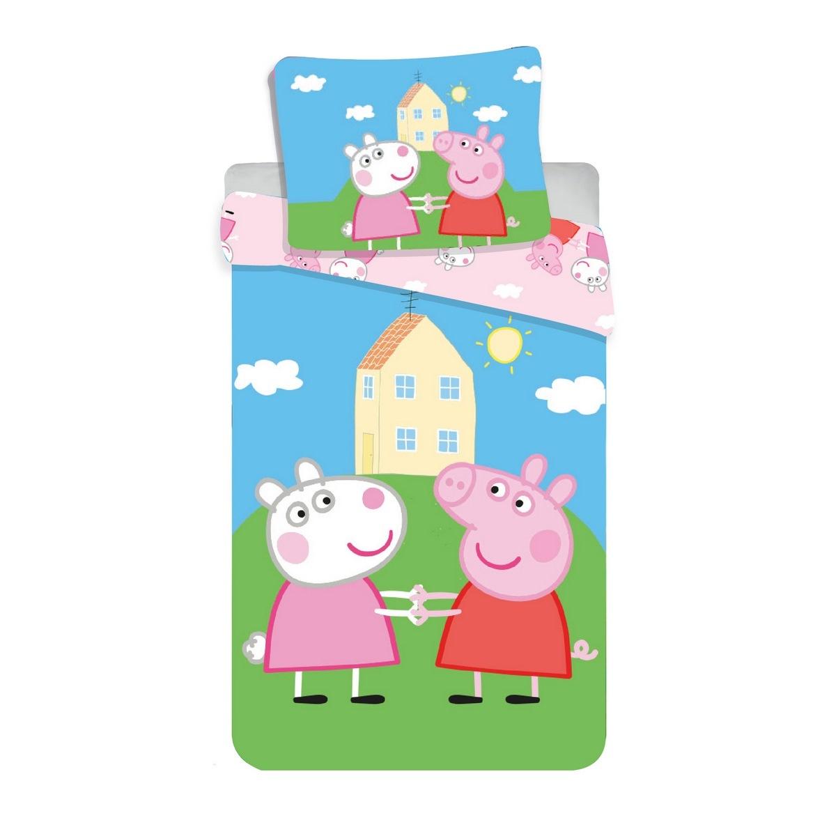 Jerry Fabrics Dětské bavlněné povlečení do postýlky Peppa Pig, 100 x 135 cm, 40 x 60 cm