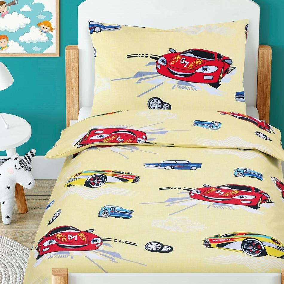 Lenjerie de pat copii, din bumbac, BeátaMașini de curse galben, 100 x 135 cm, 45 x 60 cm imagine