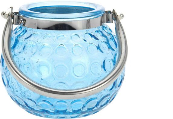 Skleněný svícen Crystal, modrá