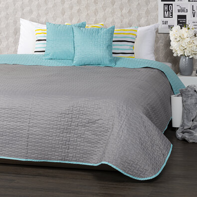 4Home Přehoz na postel Doubleface tyrkysová/šedá, 220 x 240 cm, 2 ks 40 x 40 cm