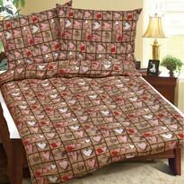 Lenjerie de pat creponată Inimă maro, 140 x 200 cm, 70 x 90 cm