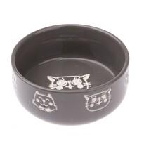 Vas ceramic pentru pisici 300 ml, gri, 12 x 4,8 cm