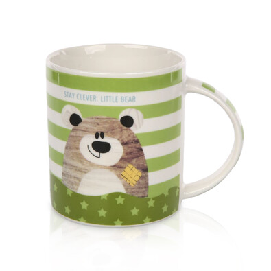 Porcelánový hrnek Little bear 280 ml, zelená