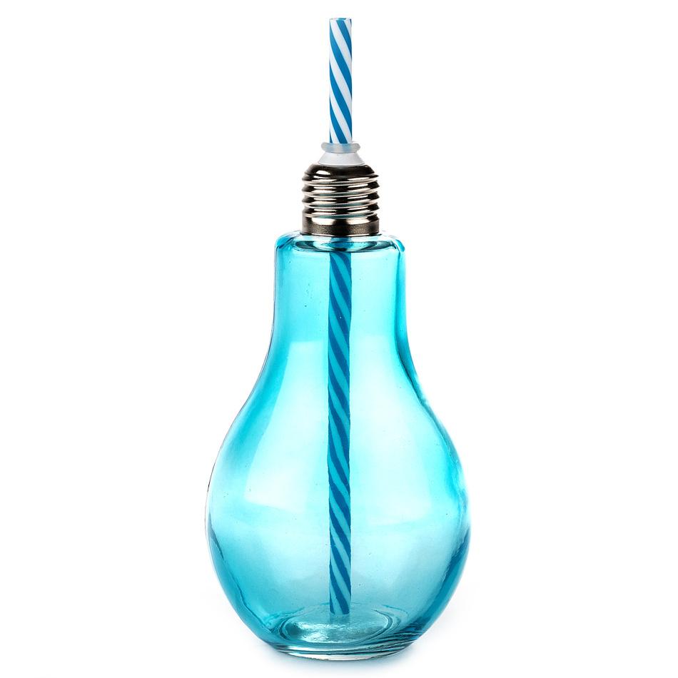 Sklenice s brčkem Žárovka velká 400 ml, modrá