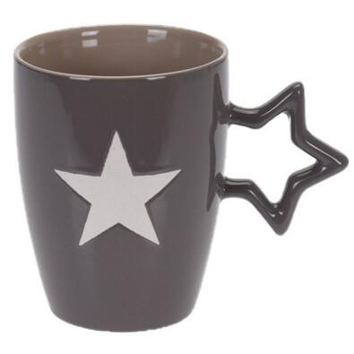 Keramický hrnek Star 330 ml, tm. Šedá