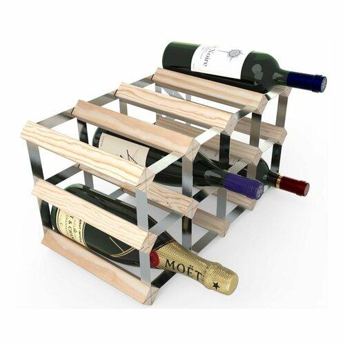 Stojan na víno RTA na 12 lahví, přírodní borovice - pozinkovaná ocel / rozložený
