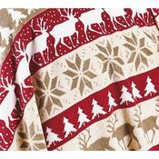 Vánoční deka se sobíky, 4Home, 150 x 200 cm, bílá + červená, 150 x 200 cm