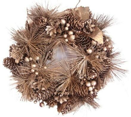 Dekorativní vánoční věnec borovice, bronzová, pr. 27 cm