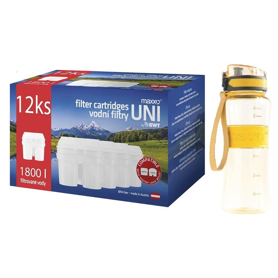 Maxxo Výhodná sada UNI vodné filtre 12 ks + žltá športová fľaša