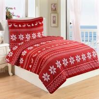 Lenjerie de pat micropluș Winter roșie, 220 x 200 cm, 2 buc. 70 x 90 cm