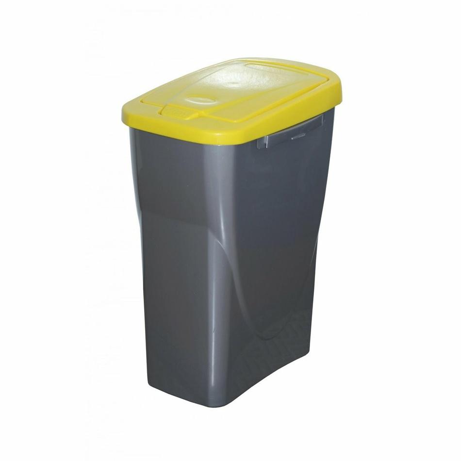 Koš na tříděný odpad žluté víko; 42x31x21 cm; 15 l; plast