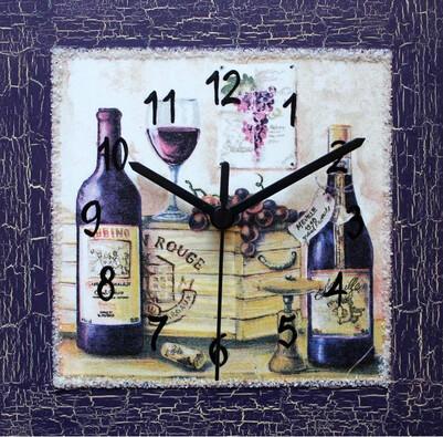 Nástěnné hodiny Zátiší s vínem