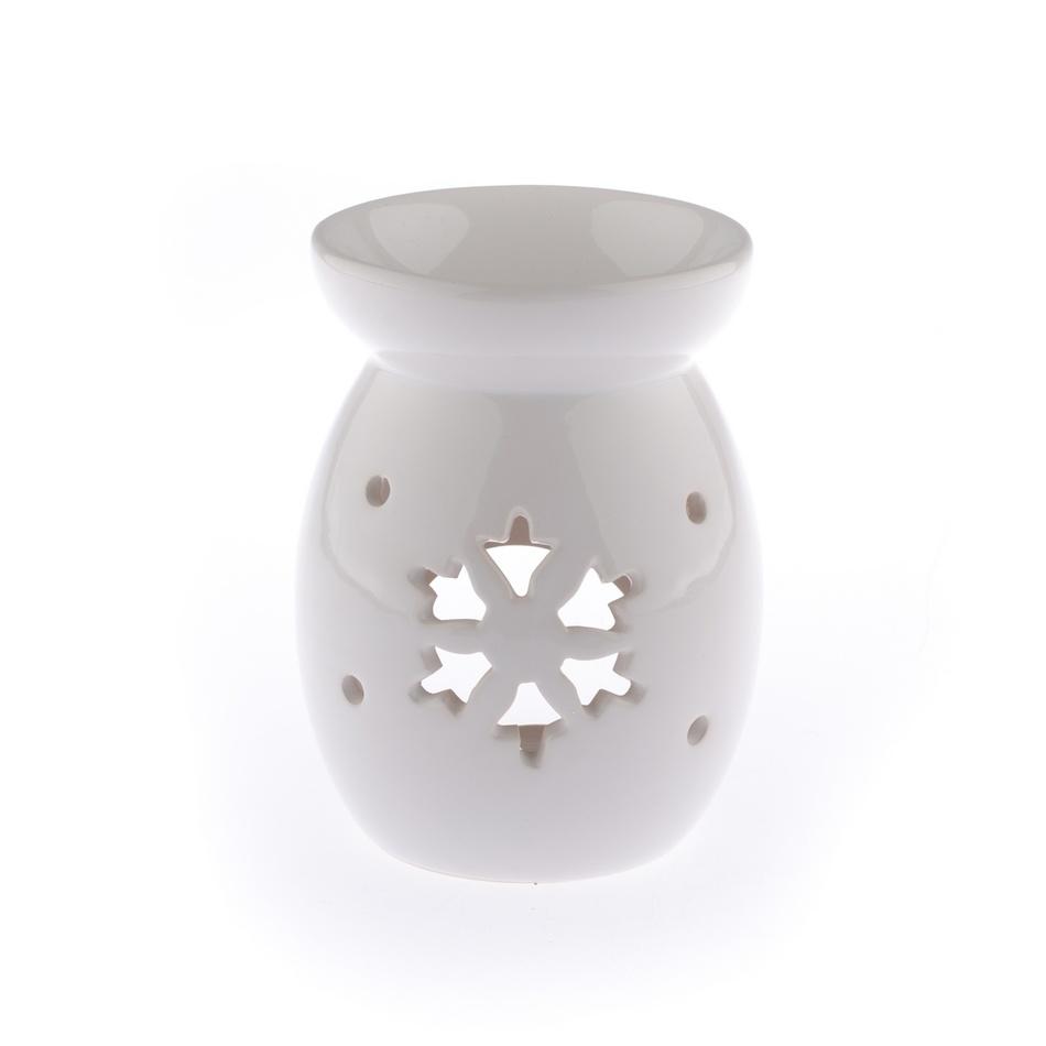Keramická aromalampa Vločka, biela