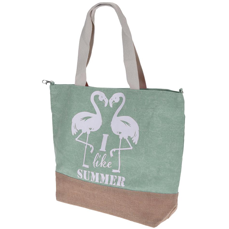 Plážová taška Plameňák, zelená