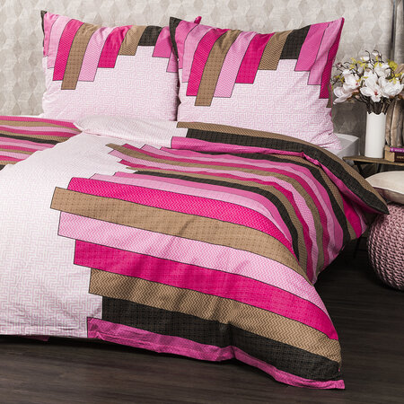 Lenjerie pat 1 pers. Stripe Pink din bumbac , 140 x 200 cm, 70 x 90 cm