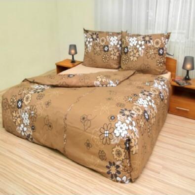 Bavlnené obliečky Lúka na hnedom, 140 x 200 cm, 70 x 90 cm