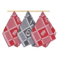 Patchwork konyharuha, pirosasszürke, 50 x 70 cm, 3 db-os szett