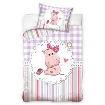Bawełniana pościel dziecięca do łóżeczka Hipopotam Naďa, 100 x 135 cm, 40 x 60 cm