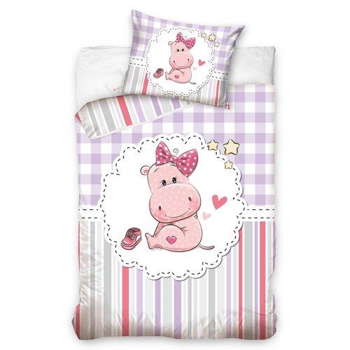 Lenjerie de pat din bumbac pentru pătuț Hipopotamul Nada, 100 x 135 cm, 40 x 60 cm