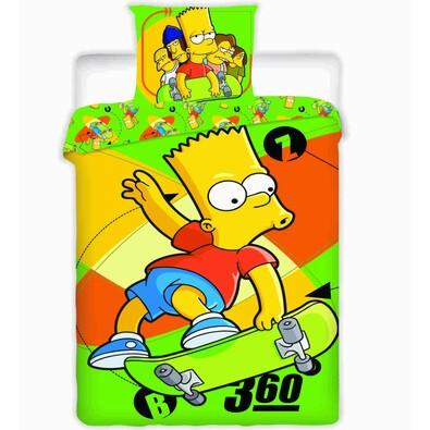 Dětské bavlněné povlečení Bart Skate, 140 x 200 cm, 70 x 90 cm