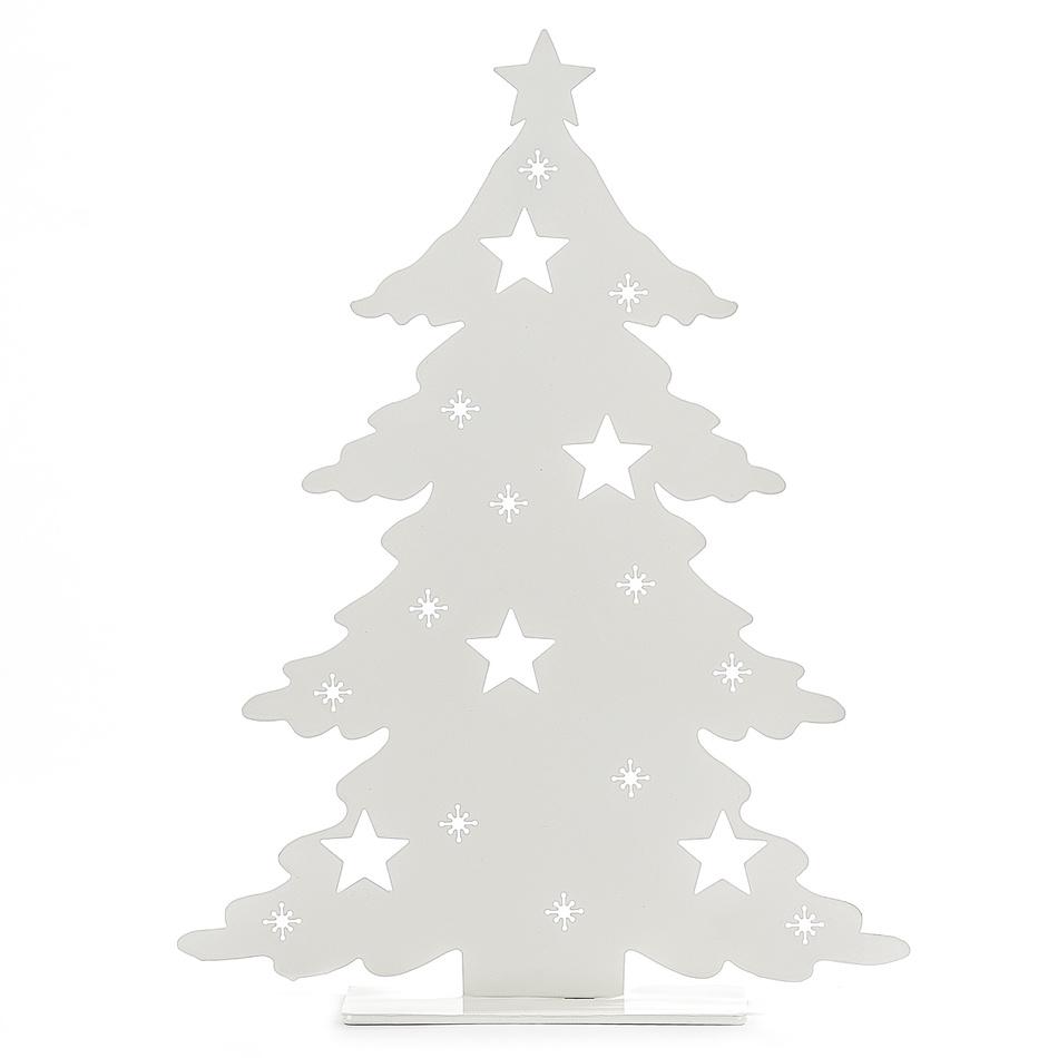 Vánoční svícen Christmas mood, bílá, kov, v. 40 cm, š. 31 cm