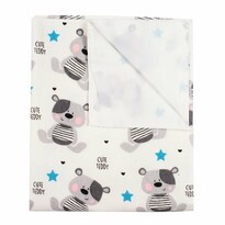 New Baby Nepremokavá flanelová podložka Cute Teddy biela, 57 x 47 cm