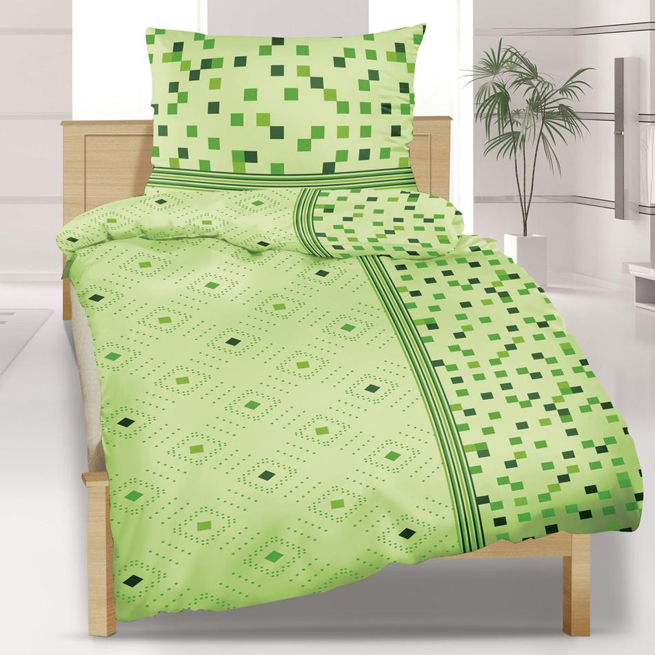 Bellatex Saténové obliečky Geometrie zelená, 140 x 220 cm, 70 x 90 cm