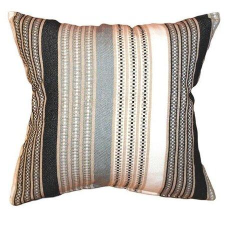 Stripe párnahuzat, barna/fekete, 40 x 40 cm