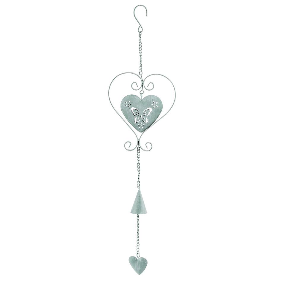 Závěsná kovová dekorace srdce, zelená