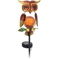 Lampa solarna Owl czerwony, 12 x 6 x 54 cm