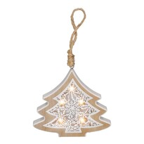 Solight 1V45-T Vánoční dřevěný Stromek teplá bílá, 6 LED