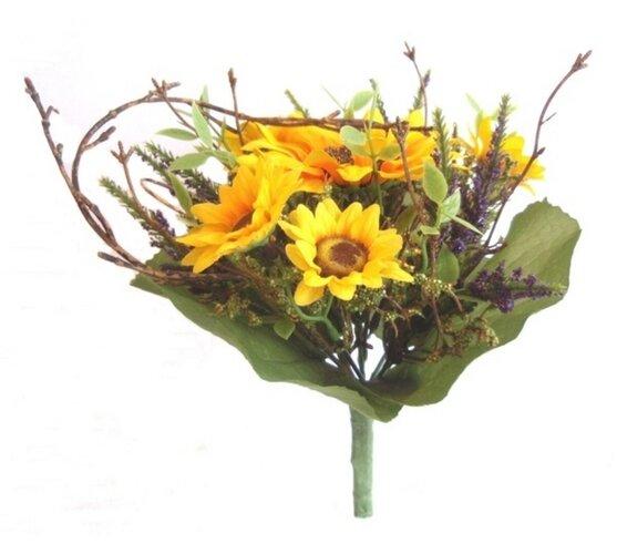 Umělá kytice slunečnice s levandulí 22 cm
