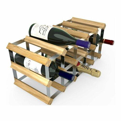 Stojan na víno RTA na 15 lahví, světlý dub - pozinkovaná ocel / rozložený