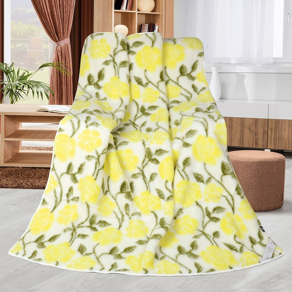 Bellatex Vlněná deka Růže žlutá, 155 x 200 cm