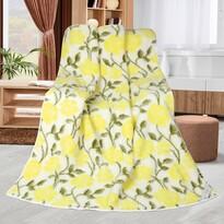 Sárga rózsás gyapjú takaró, 155 x 200 cm