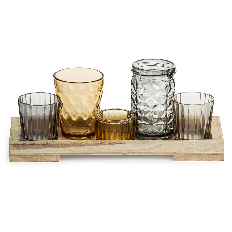 Set pěti skleněných svícnů na čajové svíčky