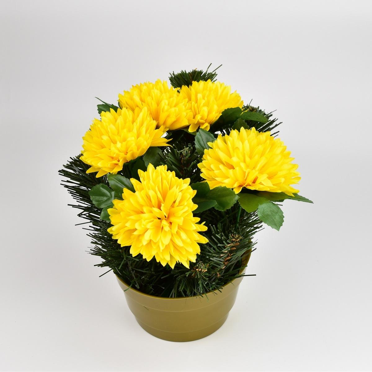 Dušičková dekorace s chryzantémami 23 cm, žlutá